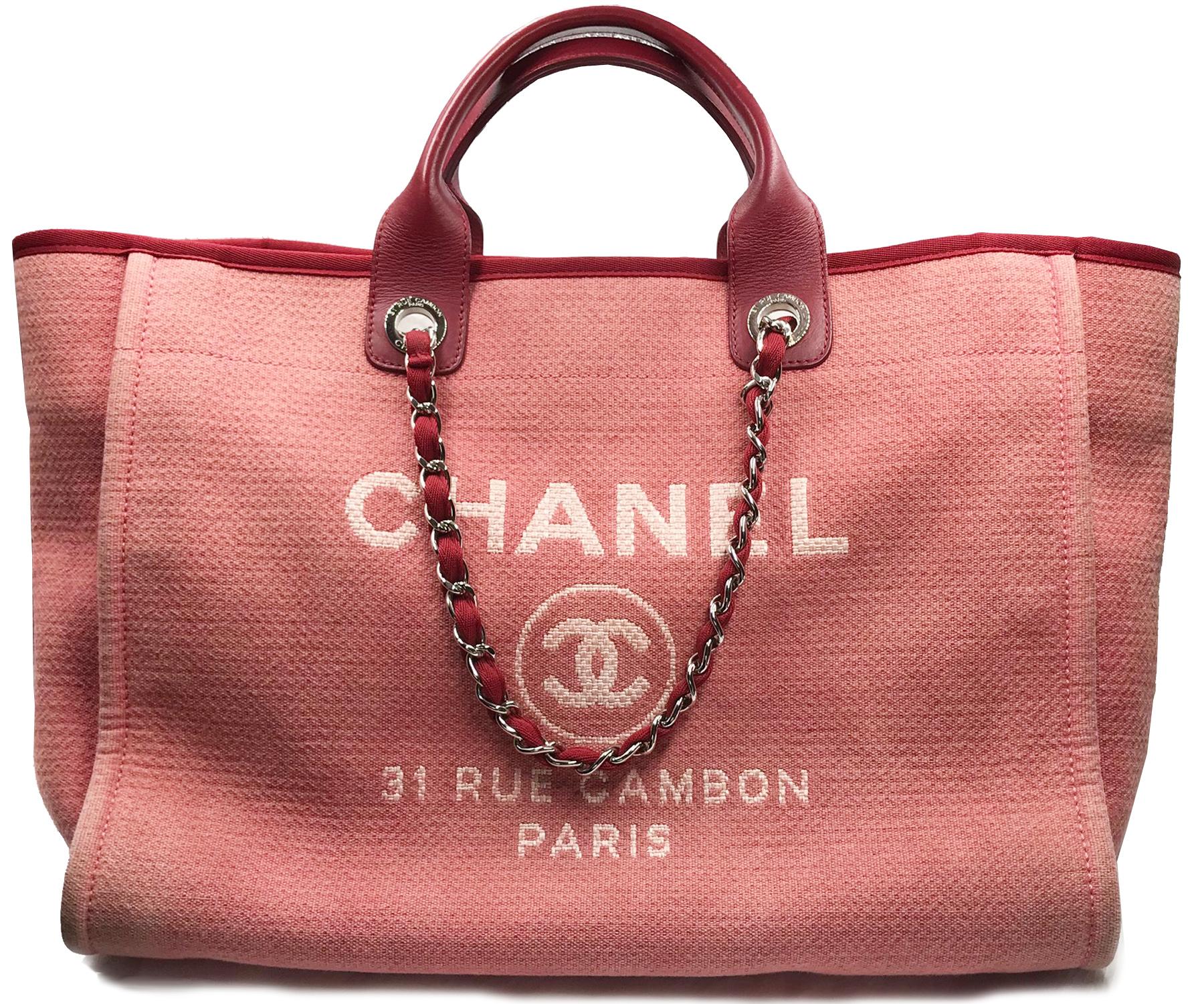 Chanel Red Denim Deauville Large Tote Bag 1580 Lar Vintage Cc