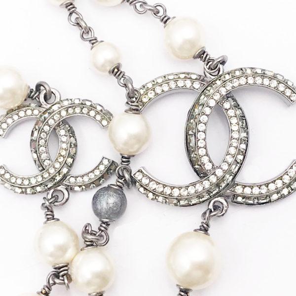 68c6c46d7621 Chanel Gunmetal Multi Chain Faux Pearl Bead Long Necklace - LAR Vintage