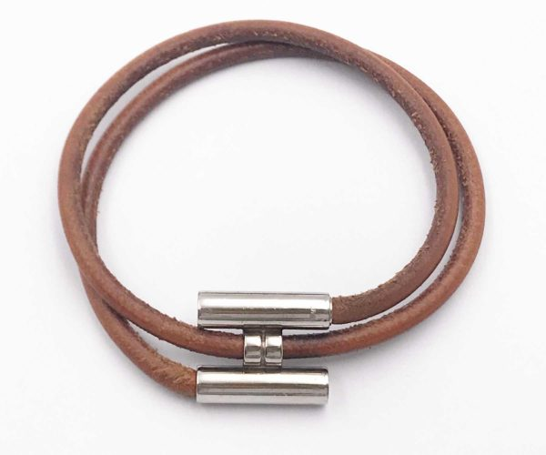 Hermes Palladium Plated H Tournis Leather Bracelet