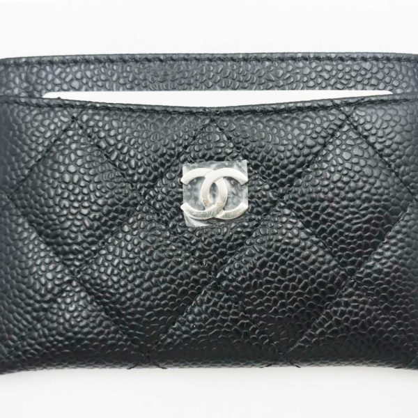 0854ef5abe7b Chanel Brand New Classic Black Caviar Card Holder - LAR Vintage