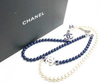 d50288a081da40 Chanel Rare Blue White Enamel CC Blue Stone Faux Pearl Long Necklace