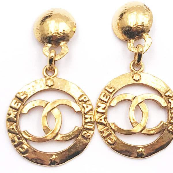 7d0b6bb45bfc5 Chanel Vintage Gold Plated CC Round Texture Large Earrings
