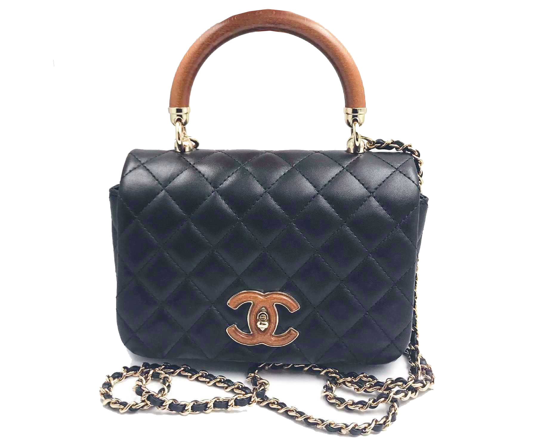 Chanel Brand New Wood Coco Handle Leather Cross Body