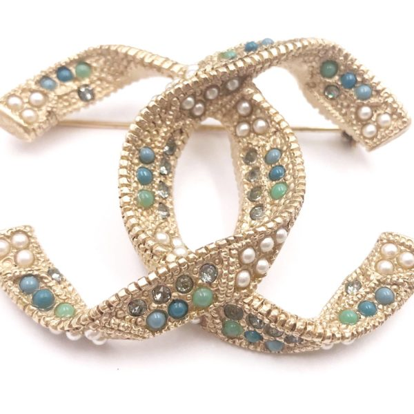 Chanel Gold Folded Cc Crystal Pearl Stone Large Brooch