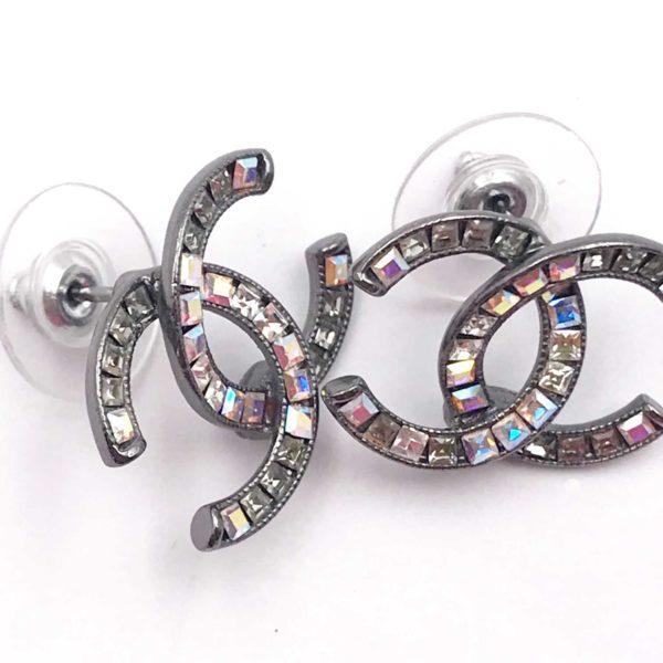 7f7753bca86e49 Chanel Gunmetal CC Square Iridescent Crystal Piercing Earrings - LAR ...