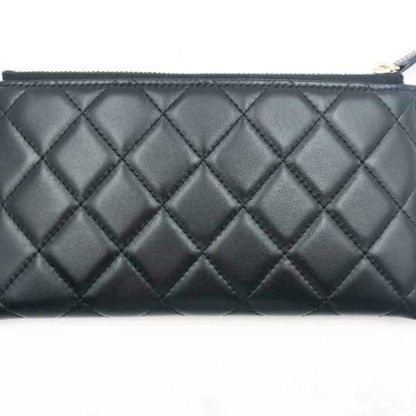 2ce7dbbf0e57 Chanel Brand New Classic Black Flat Zipped Long Wallet Pouch - LAR ...