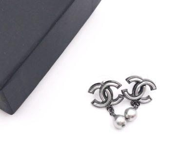 61bffe4092c6c8 Chanel Gunmetal CC Grey Pop Up Pearl Dangle Piercing Earrings