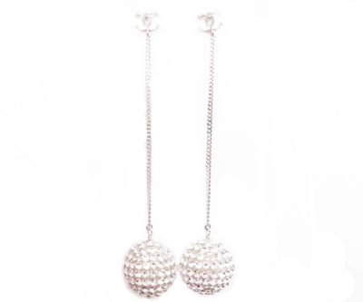 8430506d378065 Chanel Brand New Silver CC Giant Crystal Ball Long Piercing Earrings