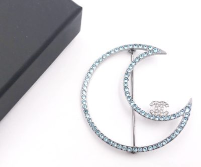 32266455791811 Chanel Brand New Silver CC Blue Crystal Moon Brooch