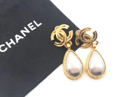 ad0171734d3d90 Chanel Vintage Gold Plated CC Silver Stone Tear Drop Clip on Earrings