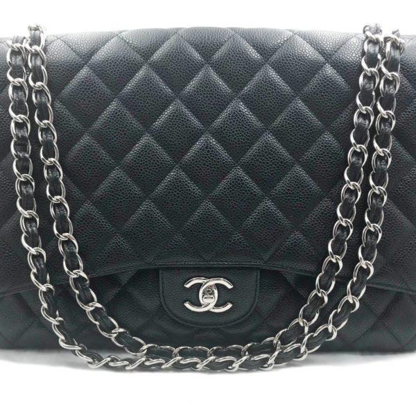 f7223354 Chanel Black Caviar Single Flap Maxi Shoulder Bag
