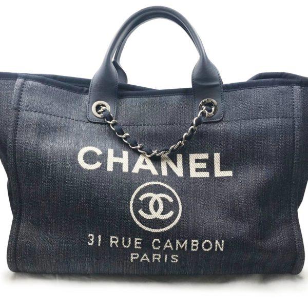 409faf4636c0 Chanel Navy Denim Deauville Silver Hardware Large Tote Bag - LAR Vintage